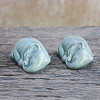 Ceramic figurines, 'Take a Rest' (pair) - Pair of Ceramic Celadon Sleeping Elephant Figurines