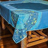 Batik cotton tablecloth, 'Azure Garden' - Batik Floral Cotton Tablecloth in Azure from India