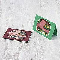 Cotton and paper greeting cards, 'Friendly Elephants' (set of 4) - Four Cotton and Paper Elephant Greeting Cards from Thailand