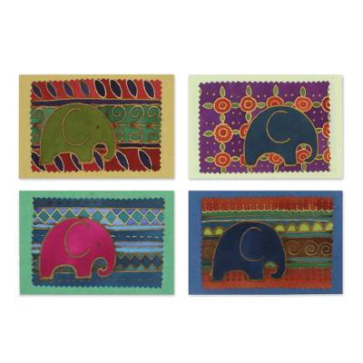 Batik Cotton and Paper Elephant Greeting Cards (Set of 4)