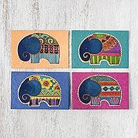Cotton and paper greeting cards, 'Excited Elephants' (set of 4) - Set of 4 Batik Cotton and Paper Elephant Greeting Cards