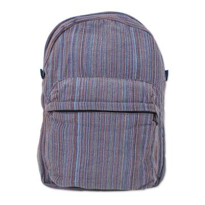 Handwoven Striped Cotton Backpack in Blue from Thailand