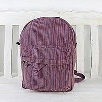 Cotton backpack, 'Striped Adventurer in Pink' - Handwoven Striped Cotton Backpack in Pink from Thailand