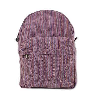 Novica Cotton backpack, Striped Adventurer in Pink