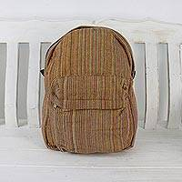 Cotton backpack, 'Striped Adventurer in Orange' - Handwoven Striped Cotton Backpack in Orange from Thailand