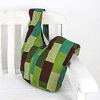 Patchwork cotton shoulder bag, 'Into the Jungle' - Patchwork Cotton Shoulder Bag in Green from Thailand