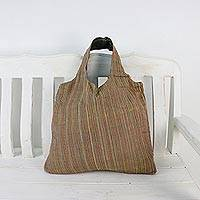 Cotton tote, 'Cozy Adventure in Orange' - Handwoven Striped Cotton Tote in Orange from Thailand