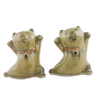 2 Yellow Ceramic Lucky Cat Figurines Crafted in Thailand