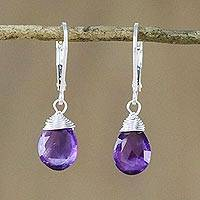 Amethyst dangle earrings, 'Glamorous Woman' - Amethyst and Silver Teardrop Dangle Earrings from Thailand