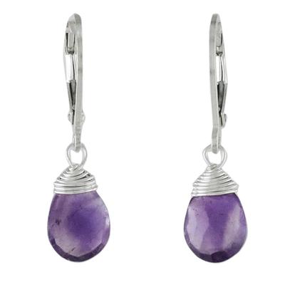 Amethyst dangle earrings, 'Glamorous Woman' - Amethyst and Silver Teardrop Dangle Earrings from Thailand