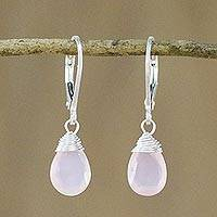 Pink chalcedony dangle earrings, 'Glamorous Woman' - Pink Chalcedony and Silver Dangle Earrings from Thailand