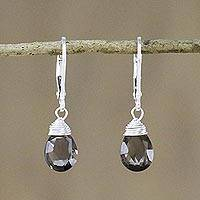 Smoky quartz dangle earrings, 'Glamorous Woman'
