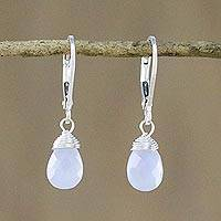 Chalcedony dangle earrings, 'Glamorous Woman' - Blue Chalcedony and Silver Dangle Earrings from Thailand
