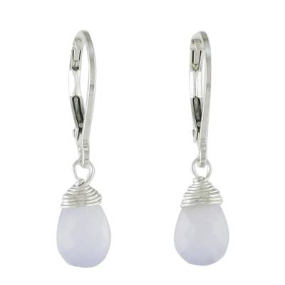 Blue Chalcedony and Silver Dangle Earrings from Thailand