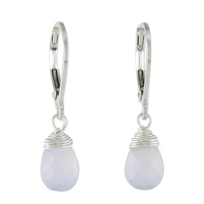 Chalcedony dangle earrings, 'Glamorous Woman' - Blue Chalcedony and Silver Dangle Earrings from Thailand