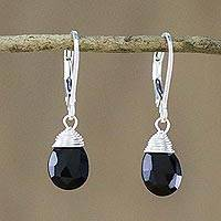 Onyx dangle earrings, 'Glamorous Woman' - Onyx and Silver Teardrop Dangle Earrings from Thailand