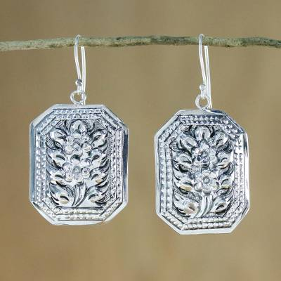 Sterling silver dangle earrings, 'Argent Blooms' - Thai Artisan Crafted 925 Silver Octagonal Floral Earrings
