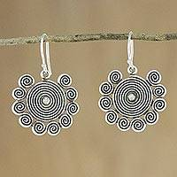 Silver dangle earrings, 'Dizzying Spirals' - Hill Tribe Silver Spiral Dangle Earrings