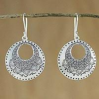 Silver dangle earrings, 'Hill Tribe Patterns' - Silver Dangle Earrings with Hill Tribe Motifs
