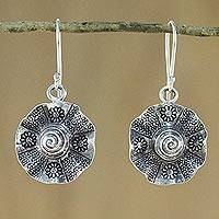 Silver dangle earrings, 'Flower of Thailand' - Floral Silver Earrings with Hill Tribe Motifs