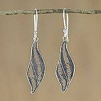Sterling silver dangle earrings, 'Endless Inspiration' - Abstract Leaf Dangle Earrings in Sterling Silver