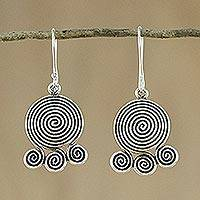 Silver dangle earrings, 'Curling Cascade' - Spiral Shaped Silver 950 Dangle Earrings
