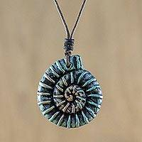 Recycled papier mache pendant necklace, 'Seashell Swirl' - Recycled Papier Mache Spiral Pendant Necklace from Thailand