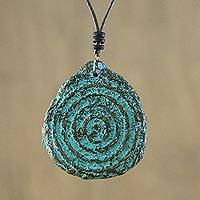 Recycled papier mache pendant necklace, 'Leaf Slab' - Recycled Papier Mache Leaf Pendant Necklace from Thailand
