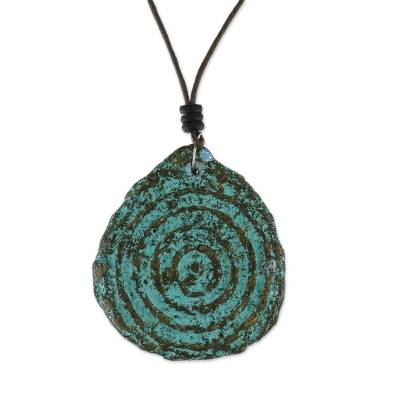 Recycled Papier Mache Leaf Pendant Necklace from Thailand