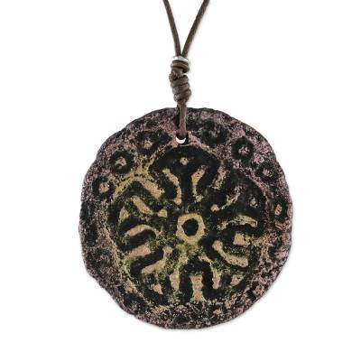 Adjustable Papier Mache Pendant Necklace from Thailand