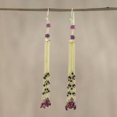 Gold plated garnet and onyx waterfall earrings, 'Elysian Cascade' - Gold Plated Garnet and Onyx Waterfall Earrings from Thailand