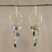 Gold plated tourmaline and quartz dangle earrings, 'Stunning Circles' - Gold Plated Tourmaline and Quartz Earrings from Thailand