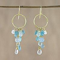 Gold plated multi-gemstone dangle earrings, 'Stunning Circles' - Gold Plated Multi-Gemstone Dangle Earrings from Thailand