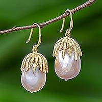 Gold plated cultured pearl dangle earrings, 'Glamorous Peaches' - Gold Plated Cultured Pearl Dangle Earrings from Thailand