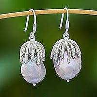 Cultured pearl dangle earrings, 'Glamorous Pears' - Cultured Pearl and Silver Dangle Earrings from Thailand