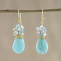 Gold plated multi-gemstone dangle earrings, 'Holiday Delight' - 18k Gold Plated Multi-Gem Dangle Earrings from Thailand
