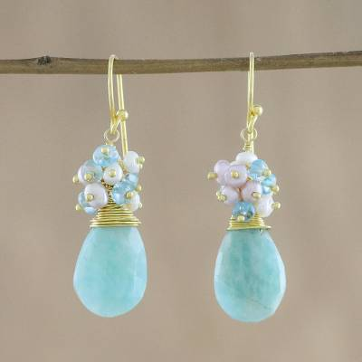 Gold-plated multi-gemstone dangle earrings, 'Holiday Delight' - 18k Gold-Plated Multi-Gem Dangle Earrings from Thailand