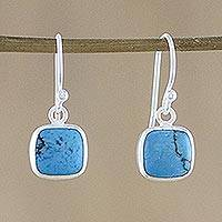 Sterling silver dangle earrings, 'Sky Blue Chic' - Sterling Silver Square-Shaped Earrings from Thailand