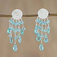 Apatite waterfall earrings, 'Blue Spirit' - Sterling Silver Apatite Waterfall Earrings from Thailand