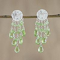 Peridot waterfall earrings, 'Green Spirit' - Sterling Silver Peridot Waterfall Earrings from Thailand
