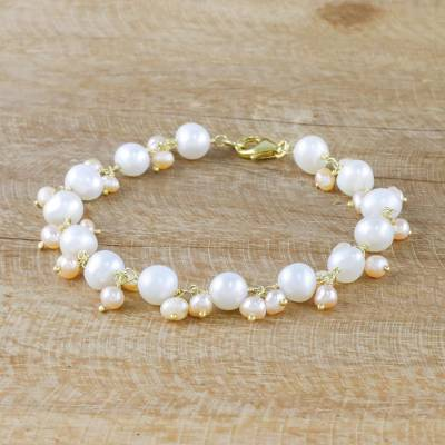 87e3414c43373 Gold Accent Cultured Pearl Link Bracelet from Thailand, 'Mermaid's Treasure'