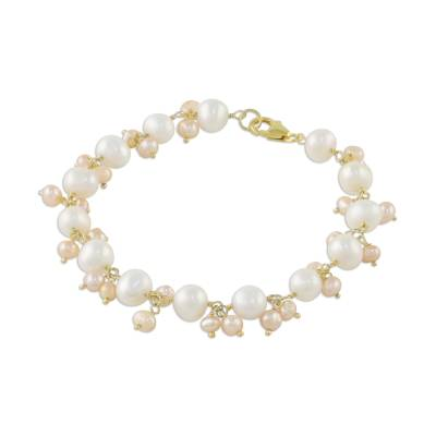 Gold Accent Cultured Pearl Link Bracelet from Thailand