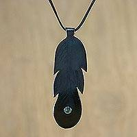 Agate and leather pendant necklace, 'Feather Spirit' - Thai Agate and Leather Feather Pendant Necklace
