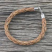 Men's leather braided bracelet, 'Thai Insight in Caramel'