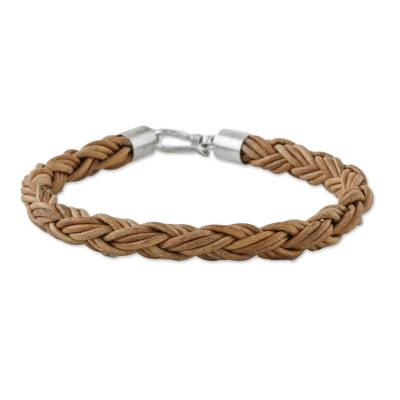 Men's leather braided bracelet, 'Thai Insight in Caramel' - Men's Handmade Braided Leather Bracelet from Thailand