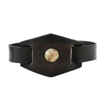 Jasper and Leather Wristband Bracelet from Thailand