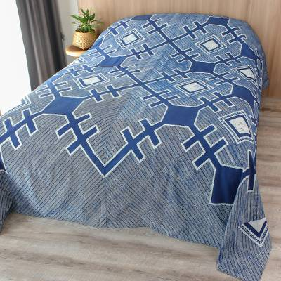 Batik cotton bed cover, 'Hmong Cross' (king) - Hand Stamped Batik 100% Cotton King Bed Cover Hmong Cross
