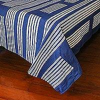 Cotton batik bedspread, 'Split Bamboo' (king) - Artisan Made Batik Indigo 100% Cotton King Bedspread