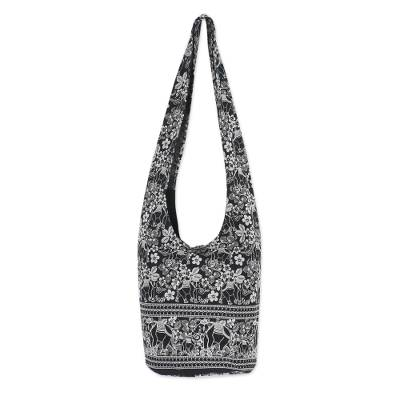 Black and White Elephant Floral Shoulder Bag from Thailand