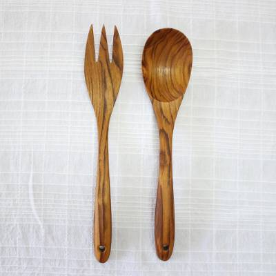 Teakwood salad serving set, 'Salad Lover' (pair) - Pair of Hand-Carved Teakwood Salad Serving Set from Thailand